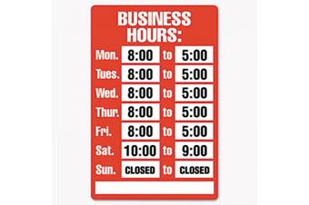 Cosco 098072 Business Hours Sign Kit 8 x 12 Red
