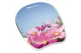 "Gel Mouse Pad w/Wrist Rest, Photo, 9 1/4"" x 7 1/3"", Pink Flowers"