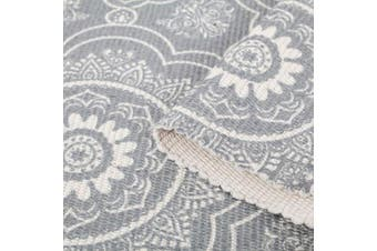 (60 x 130cm, Grey) - SHACOS 100% Cotton Area Rug Grey Hand Woven Carpet Braided Kitchen Mat Bedroom Area Rug with Tassels Machine Washable 60x130 cm