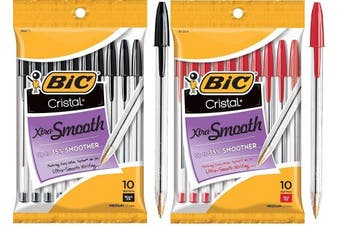 BIC Cristal Xtra Smooth Ball Pen Combo Set: Set Includes 10 Black and 10 Red
