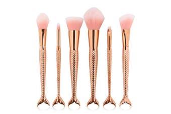 Mermaid Makeup Brush Set,6pcs Rose Gold Brush for Kids Lovely Makeup Brush for Girls Portable Beauty Cosmetic Tools Women Cosmetic Concealer Brush