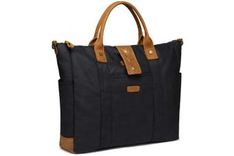 (Black) - Laptop Bag for Women, VASCHY Water Resistant Vintage Leather Waxed Canvas Tote Bag Work Bag for Women Fits 40cm Laptop with Detachable Shoulder Strap