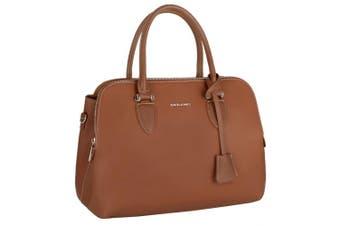 (Camel Brown) - David Jones - Women's Bugatti Handbag - Top Handle Faux Leather Bag - Multiple Pockets Tote Shoulder Crossbody Bag - Ladies Elegant Fashion Shopping Bag Shopper Designer Satchel City - Camel Brown