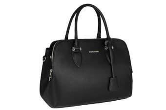 (Black) - David Jones - Women's Bugatti Handbag - Top Handle Faux Leather Bag - Multiple Pockets Tote Shoulder Crossbody Bag - Ladies Elegant Fashion Shopping Bag Shopper Designer Satchel City - Black