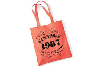 (Coral) - 32nd Birthday Gifts for Women Men Vintage 1987 Funny Tote Bags Present