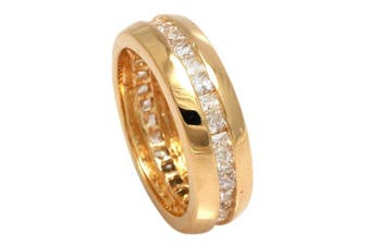 (J) - Genuine 18K Gold Filled Princess Cut Crystals From ® Eternity Ring. A Real Show Stopper. Life Time Guarantee. Stamped. Outstanding Quality 12mm Wide Band.