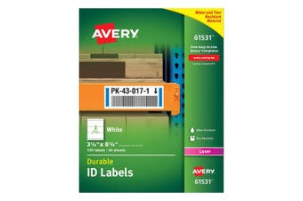 (7.6cm  - 0.6cm  x 20cm  - 1cm ) - Avery Durable White Cover Up ID Labels for Laser Printers, 8.3cm x 21cm , Pack of 150 (61531)