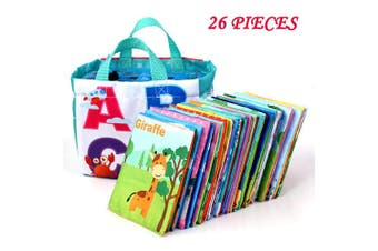 Adpartner 26 Letters Cloth Cards, Baby Early Education Toy with Drawstring Bag, Washable Soft Cloth Toy for Toddlers Infants and Kids