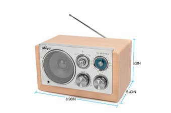 (Wood Color) - ahiya Wireless Radio Personal AM FM Sound Good Reception Retro Classic Portable Aux Input Speaker Good Selectivity Metal Antenna Best Gift for Father Mother Grandpa Grandma Wood Colour