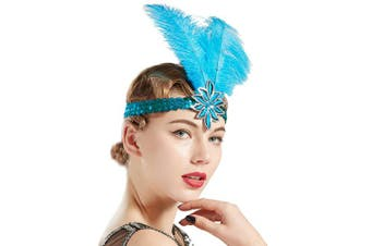 (Blue) - ArtiDeco Vintage 1920s Headband 1920s Sequined Headpiece Feather Headband with Crystal Great Gatsby Costume Accessories Roaring 20's Accessories (Blue)