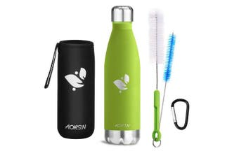 (Apple green, 350ml) - Aorin Vacuum Insulated Stainless Steel Water Bottle - 24 hrs Cooling & 12 hrs Keep Warm. Powder coating Scratch resistance Easy to clean.