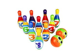 Bowling Pins Bowling Set Toy 10 Colourful Soft Foam Pins 2 Balls Educational Development Sports Indoor Outdoor Play Game for Kids Children Toddlers Boys Girls