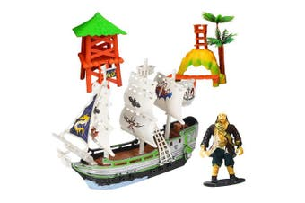 ArtCreativity Pirate Adventure Playset for Kids (4-Piece Set) | Pirate Ship, Toy Figurine, and 2 Caribbean Island Pieces | Durable Pretend Play Kit | Best Holiday or Birthday Gift for Boys and Girls