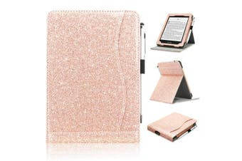(FIT ALL NEW AND PREVIOUS KINDLE PAPERWHITE, Glitter-Rose Gold) - ACcolor Kindle Paperwhite Case (10th Generation-2018), Stand Leather Wallet Cover Case for All New and Previous Kindle Paperwhite with Auto Wake Sleep Feather [Bonus Stylus], Glitter-Rose