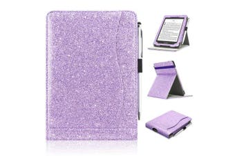(FIT ALL NEW AND PREVIOUS KINDLE PAPERWHITE, Glitter- Purple) - ACcolor Kindle Paperwhite Case (10th Generation-2018), Stand Leather Wallet Cover Case for All New and Previous Kindle Paperwhite with Auto Wake Sleep Feather [Bonus Stylus], Glitter- Purple)