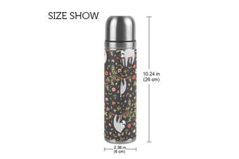(sloth floral) - ALAZA Sloth Unicorn Fox Stainless Steel Water Bottle Leak-proof Double Walled Vacuum Insulated Travel Coffee Mug Genuine Leather Cover 500ml