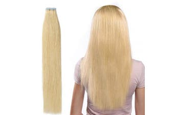 (50cm  50g, #24 Natural Blonde) - 30cm - 60cm Tape Extensions 100% Real Remy Human Hair 20pcs 50g Straight Skin Weft Seamless Long (50cm #24 Natural Blonde)