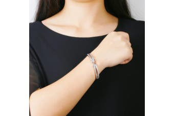 """(Silver & Rosegold) - Angelady""""Forever and Ever""""Silver Infinity Ladies Bracelets Bangles for Womens Bracelet Magnetic Mum Bracelets