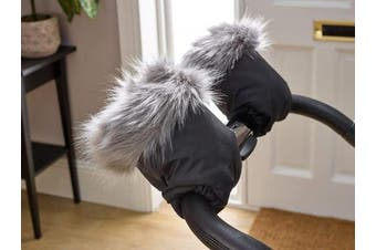 (Grey) - Clair de Lune Universal Pushchair/Pram Faux Fur Mittens, Grey