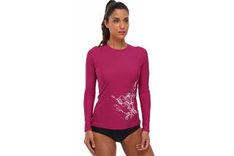 (Medium, Fuchsia) - beautyin Womens Long Sleeve Rashguard Swimwear UPF 50+ Rash Guard Athletic Tops