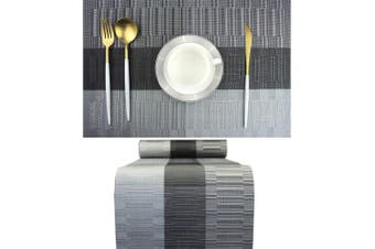 (7, Black+gray) - Bright Dream Placemats and Table Runner 30cm x 180cm Set for Kitchen Table Mats Easy to Clean Woven Vinyl Indoor Outdoor Placemat (1 Table Runner and 6 Placemats, Black+Grey)