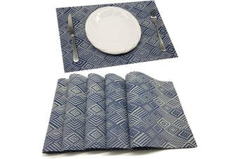 (PVC Material, Ff-mzflan) - Tennove Placemats Set of 6, Washable Placemats PVC Cross Weave Woven Vinyl Table Mats for Kitchen Dining Table Decoration(FF-MZFLAN)