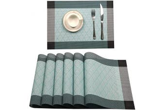 (PVC Material, Xx-blue) - Tennove Placemats Set of 6, Washable Placemats PVC Cross Weave Woven Vinyl Table Mats for Kitchen Dining Table Decoration(XX-Blue)