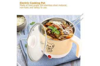 (Khaki) - Cooking Pot Mini Electric Cooking Pot Rapid Noodles Cooker Stainless Steel Cooking Pot Food Grade Electric Skillet 110-220V 1.8L (Khaki)