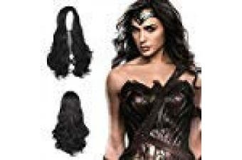 (Wonder Woman) - Ani·Lnc Long Black Wavy Wig Cosplay Wig Side Parting Only Hair Without Headband