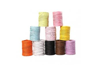 (9) - 50m Bind Wire Wrap Twine Colourful Wire Paper Vine,Portable Binding Wire Paper Twine,Paper Covered Waterproof Rustic Vine for Flower Bouquets Gardening Paper Wrapped Wire Winded DIY Project