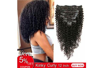 (30cm , kinky curly) - Rolisy Kinkys Curly Clip in Hair Extensions Afro 3C 4A Kinky Curly Clip ins Real 8A Brazilian Remy Hair for Black Women Double Lace Wefts Hair,Natural Black Colour,10 Pcs,120 Gramme,30cm