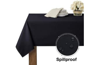 (150cm  x 210cm , Black) - RYB HOME Black Table Cloth for 1.8m Rectangle Tables, Wrinkel Free Scratch Resisitant Fabric Oblong Table Cover for Kitchen/Dining/Coffee/Banquet Tabletop Decor, 150cm x 210cm , Black