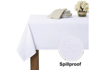 (150cm  x 210cm , White) - RYB HOME White Tablecloth for Buffet - Waterproof Table Cloth for Wedding Decorations Holiday Dinner for Indoor Outdoor Use, Rectangular Tables Linen for Reception, 60 x 84, White