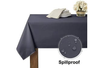 (150cm  x 210cm , Grey) - RYB HOME Waterproof Tablecloth for 1.8m Rectangle Table Stain Resistant, Wrinkle Free and Spillproof Washable Polyester Table Cover Dining Buffet Banquet Restaurant, 150cm x 210cm , Grey