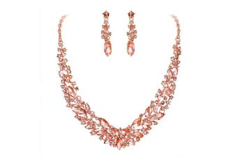 (Peach Morganite Color Rose-gold-toned) - Clearine Women's Wedding Bridal Austrian Crystal Marquise Cluster Collar Necklace Dangle Earrings Set
