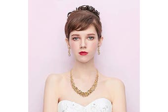 (Champagne Gold-toned) - Clearine Women's Wedding Bridal Austrian Crystal Marquise Cluster Collar Necklace Dangle Earrings Set