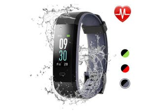 (BlackGrey) - LETSCOM Fitness Tracker Colour Screen, IP68 Waterproof Activity Tracker with Heart Rate Monitor, Sleep Monitor, Step Counter, Calorie Counter, Smart Pedometer Watch for Men Women Kids