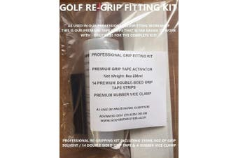 GOLF GRIP FITTING KIT INC 14 GRIP TAPE STRIPS 240ml SOLUTION SOLVENT RUBBER CLAMP PGA WORKSHOP CUSTOM FITTER