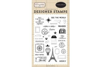 Carta Bella Paper Company CBCA97040 See The World Set Stamp red, Blue, tan, Sepia, Yellow