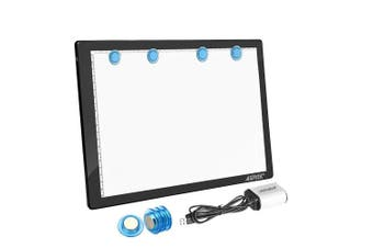 (A4 Magnetic Light Pad(buttons control)) - Magnetic A4 LED Artcraft Tracing Light Pad 4 Light Box Ultra-thin physical buttons control with memory function USB Powered Pad Animation,Sketching,Designing,Stencilling X-ray Viewing W/USB Adapter