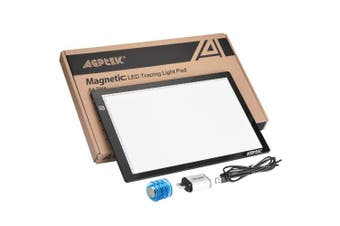 (A4 Magnetic Light Pad(Touch control)) - Magnetic A4 LED Artcraft Tracing Light Pad Light Box AGPtEK Stepless brightness control with memory function USB Powered Tatoo Pad Animation,Sketching,Designing,Stencilling X-ray Viewing W/ USB Adapter