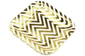 (White | Gold Chevron | 18cm) - FiveSeasonStuff Paper Plates 7 inch Eco-friendly Biodegradable Compostable (White | Gold Chevron | 18cm) 16pcs Disposable