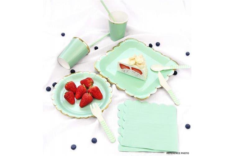 (Mint Green | Gold Floral Edge | 23cm) - FiveSeasonStuff Paper Plates 9 inch Eco-friendly Biodegradable Compostable (Mint Green| Gold Floral Edge | 23cm) 24pcs Disposable