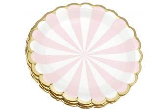 (Pink | White | Gold Edge | 18cm) - FiveSeasonStuff Paper Plates 9 inch Eco-friendly Biodegradable Compostable (Pink | White | Gold | 18cm) 24pcs Disposable
