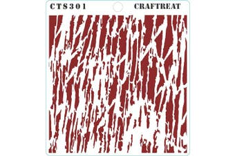 """(Tree Bark 6""""X6"""") - CrafTreat Wood Decor Stencils for Painting on Wood, Canvas, Paper, Fabric, Floor, Wall and Tile - Tree Bark - 15cm x 15cm - Reusable DIY Art and Craft Stencils - Tree Bark Stencil"""