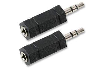 3.5mm Mini Jack Mono Socket to Stereo Headphone Plug Connector Adaptor x 2