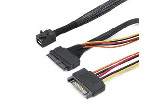 (Mini Sas SFF 8643 to 8639 With 15Pin SATA Power) - CableDeconn Internal 12G Mini SAS HD to U.2 / SFF-8643 to SFF-8639 Cable 0.5m with 15Pin SATA Power for U.2 SSD