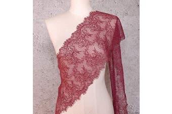 (Burgundy) - ALE14 Lace Fabric Eyelash Chantilly Floral Bridal/Wedding Dress Flower Table Cloth DIY Crafts Scallop Trim Applique Curtain 300cm x 23cm (Burgundy)