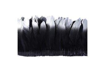 (black-silver) - ADAMAI 2 Yards Goose Feathers Trims Fringe DIY Dress Sewing Crafts Costumes Decoration (Black-Silver)