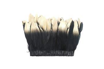 (black-gold) - ADAMAI 2 Yards Goose Feathers Trims Fringe DIY Dress Sewing Crafts Costumes Decoration (Black-Gold)